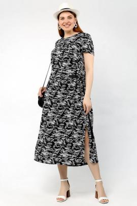 Платье La rouge 5356 черный-набивной