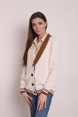 Жакет Romgil ТЗ399 белый, светло-коричневый,темно-коричневый