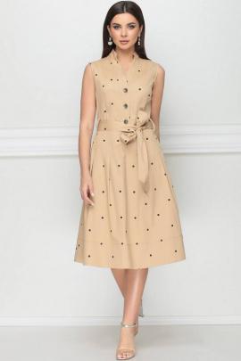 Платье LeNata 12014 песочный-в-горох