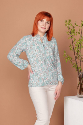 Блуза Соджи 410 зеленый/цветы