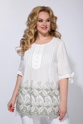 Блуза Liliana 955 белый+оливка