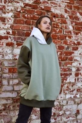 Худи Rawwwr clothing 127-начес белый-хаки-оливковый