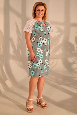 Платье Golden Valley 4388 полоска+бирюзовые_цветы