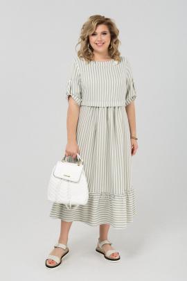 Платье Pretty 1981 хаки-белый