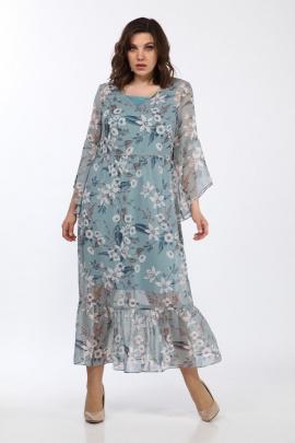 Туника, Платье Lady Style Classic 1802/1 голубой_цветы