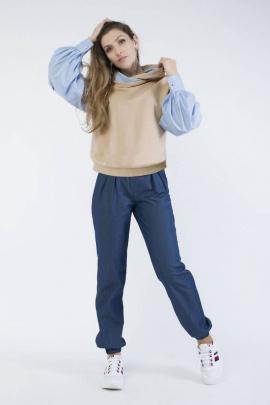 Блуза Effect-Style 807 бежевый,голубой