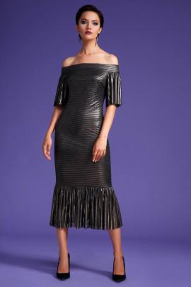 Платье LaVeLa L1910 черный/золото/полоска