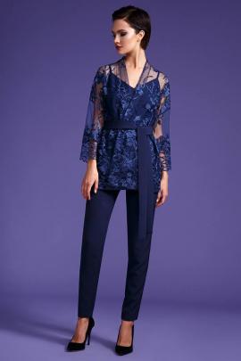 Женский костюм LaVeLa L3328 синий/цветы_синие