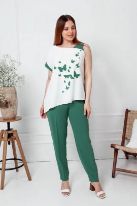 Комплект Gold Style 2477 изумрудно-зеленый,молочный