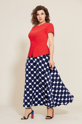 Блуза, Юбка Mubliz 563 синий-красный