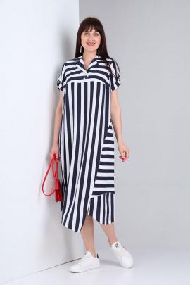 Платье VIA-Mod 439А бело-синий_полоска