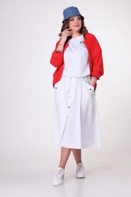 Блуза, Юбка, Бомбер T&N 7050 красный-белый