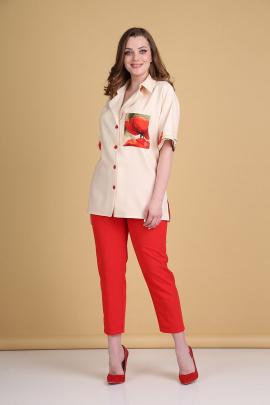 Брюки, Блуза Andrea Style 0372 беж