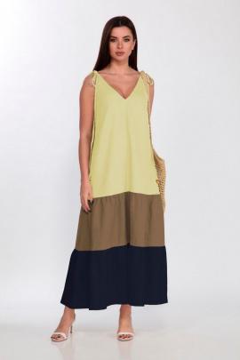 Платье Faufilure С1179 лимон-синий