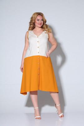 Платье Ксения Стиль 1905 белый-оранжевый