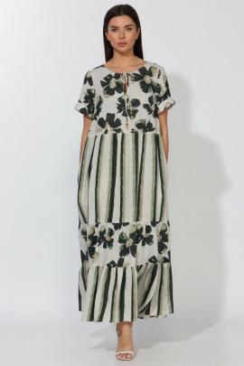 Платье Faufilure С1177 полоска_цветы_зеленый