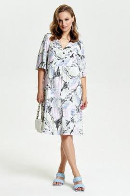 Платье TEZA 2645 белый+рисунок