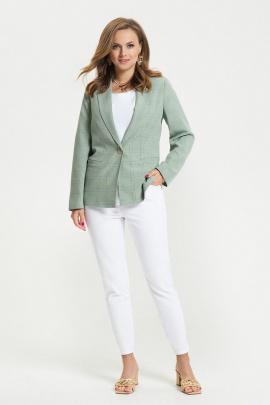 Женский костюм TEZA 2662 зеленый_крупная_ клетка+белый