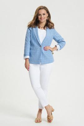 Женский костюм TEZA 2662 голубой_ клетка+белый