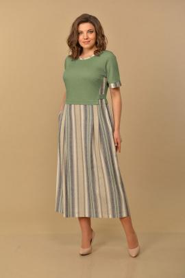 Платье Lady Style Classic 1581/15 хаки_полоска