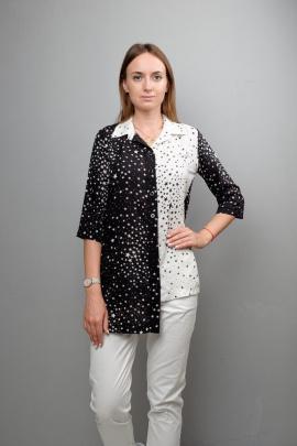 Блуза Mita ЖМ1037 черно-белый_звезды