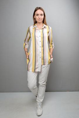 Блуза Mita ЖМ1037 желто-серо-розовая_полоска