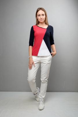 Блуза Mita ЖМ1048 черно-красный-белый