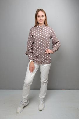 Блуза Mita ЖМ1086 коричневый_горох
