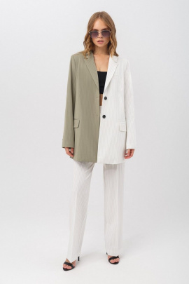Женский костюм PiRS 3357 хаки-белый