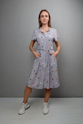 Платье Mita ЖМ1038 серый_фон-горох