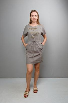 Платье Mita ЖМ1093 бежево-серый