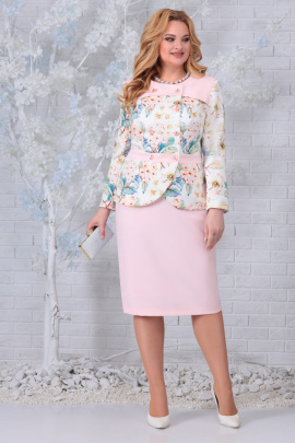 Женский костюм Ninele 5844 пудра_цветы