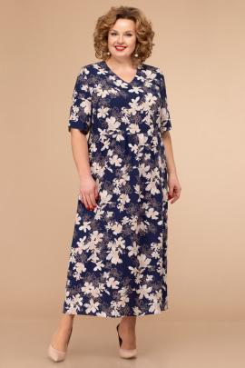 Платье Линия Л Б-1793 цветы_на_т-синем_фоне