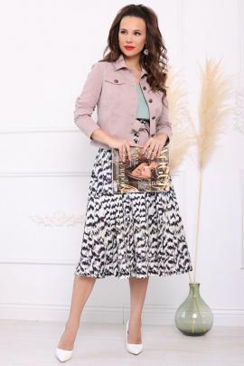 Юбка, Куртка Мода Юрс 2400 пыльно-розовый_черный