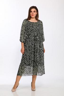 Туника, Платье Lady Style Classic 2372 хаки_кружочки