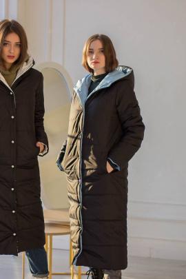 Пальто Sisteroom П-044 черно-голубой