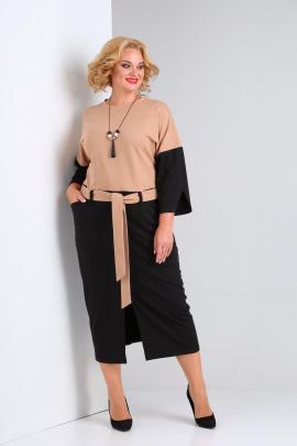 Платье SOVITA M-2123 черный-бежевый