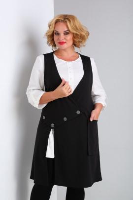 Блуза, Жилет SOVITA M-2124 черно-белый
