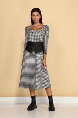 Платье ALEZA 1037 черно-белый_клетка