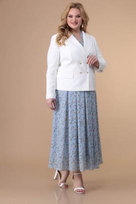 Жакет, Платье Romanovich Style 3-2179 белый,голубые_тона