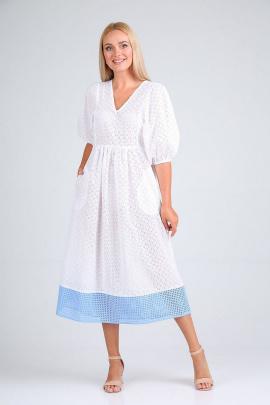Платье FloVia 4090 белый+полоска_голубой