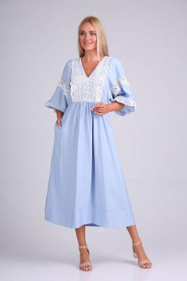 Платье FloVia 4095 голубой-белый