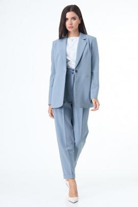 Женский костюм T&N 7078 серо-голубой+белый