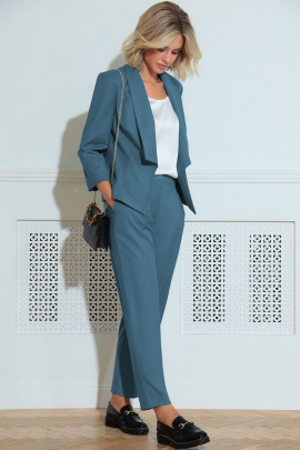Женский костюм LeNata 32185 темно-голубой