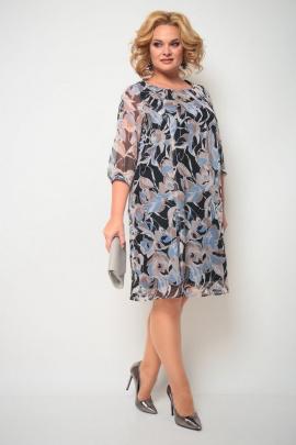 Платье Michel chic 2065 синий+цветы