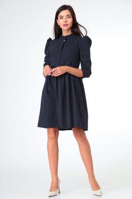 Платье Sisters Solonko С-22 темно-синий_горох