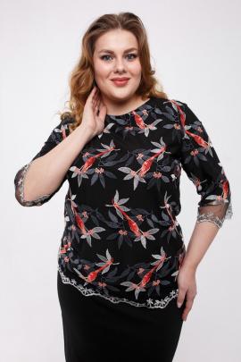Блуза Legend Style ВР-004 черный-птички