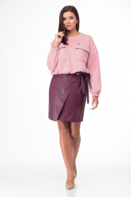 Юбка, Свитшот Bonna Image 619 розовый-бордо