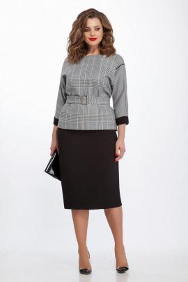 Блуза, Юбка TEZA 130 серый+черный
