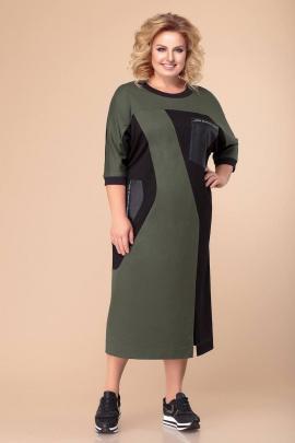 Платье Romanovich Style 1-1870 хаки/черный